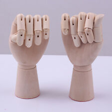 """PAIR 11"""" ARTISTS WOODEN MALE HANDS RIGHT LEFT LAY FIGURE SKETCH DRAWING WH110/1"""