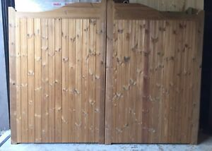 Pair of Thermowood (Thermally Modified Timber) Swan Neck / Arched Driveway Gates