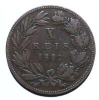 1882, Portuguese, 10 Reis, Luiz I, nF, Bronze, KM# 526 [Lot 1541]