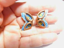 Signed Maltese Blue Speckled Fused Enamel Copper Clip On Earrings Vintage