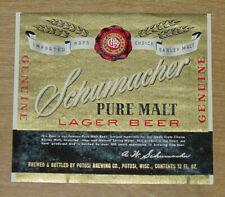1 beer label from Potosi, Wisconsin, Schumacher Pure Malt Lager Beer, 12 oz.
