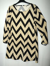 BEIGE BLACK LADIES CASUAL TOP TUNIC SIZE XL STRETCH BLOUSE