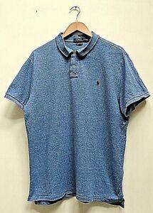 ✅Ralph Lauren Custom Slim Fit Marl Blue Cotton Short Sleeve Polo Shirt Size XL✅