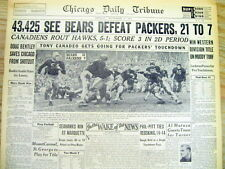 1943 newspaper CHICAGO BEARS defeat GREEN BAY PACKERS - NFL football SID LUCKMAN