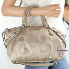 NEW Coach Madison Dotted OP Art Sophia Satchel Shoulder Bag 15935 Khaki RARE