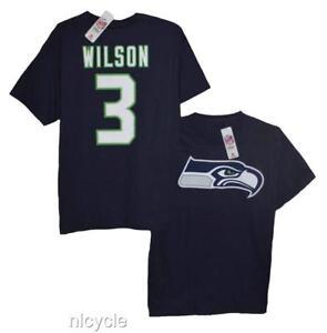 WILSON # 3 SEATTLE SEAHAWKS NFL Team BLUE SHIRT Size L XL  NWT