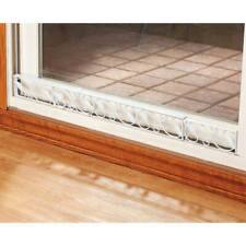 White Leaf Scroll Decorative Sliding Do 00004000 or Wedge Extendable Metal Security Bar