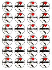 "x24 1.5"" I Love Basketball Birthday Cupcake Topper On Edible Wafer Rice Paper"