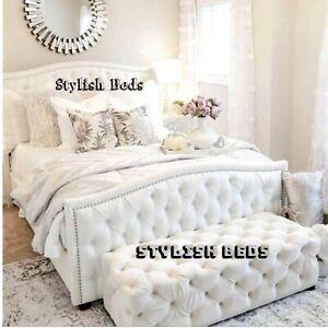 Plush Velvet Sierra Sleigh Bed Frame With Memory Foam Mattress in All Sizes