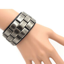 Stylish Punk Rock Men Metal Block Leather Bracelet Cuff Wristband Bangle Jewelry