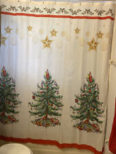 Christmas Shower Curtain Fabric, Gold Ornaments , Christmas tree with presents