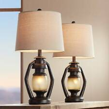 Rustic Table Lamps Set of 2 with Nightlight Miner Lantern...