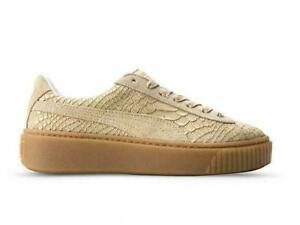 Puma Womens Platform Exotic SkinVachetta Gold Lifestyle Sneakers 363377-02