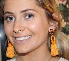 Oscar de la Renta Authentic Goldenrod Short Silk Tassel Earrings STUNNING