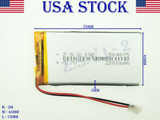 3.7V 2000mAh  504075  LiPo Lithium Polymer Rechargeable Battery (USA STOCK)