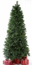 6ft Green Artificial Christmas Tree Cone Berries no Lights Slim Spruce Xmas