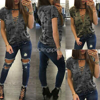 New Women Blouse Lace up V Neck Fashion Casual Loose Long Sleeve T-Shirt Tops