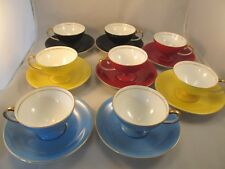 "Eight (8) Vintage Noritake Art Deco Demitasse Cups and Saucers ""Red M in Wreath"""