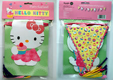 HELLO KITTY 8ft BUNTING GARLAND pink & yellow 9 PENNANT RAFFIA TASSELS BUTTON