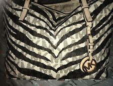 MICHAEL KORS JET SET Travel leather Cream Tiger Stripe Tote purse bag $328