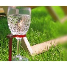 HANDS FREE WINE GLASS HOLDER Outdoor Portable Picnic Stand Stake Set 4