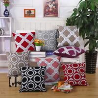 Home Sofa Cotton Decor Plaids Throw Pillow Case Square Waist Cushion Cover 0031U