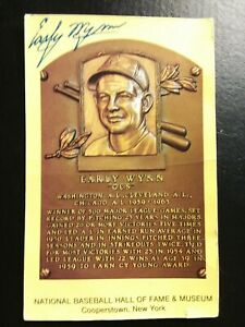 Signed Early Vintage Wynn Autograph Hall of Fame Plaque Postcard Rare G+