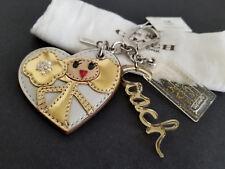 Coach Poppy Chan Girl Goldy Heart Leather Charm Key Fob Keychain Key Ring NWT