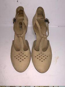 Arche LN Women's Mary Jane T Strap Pumps Beige Nubuck Leather Comfort Heels Sz39