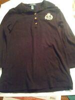 Lauren Ralph Lauren shirt polo neck womens small 3/4 sleeve top blue A3