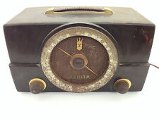 Vintage Zenith Radio H725Z1 Large Dial Brown Bakelite Works AM/FM Tube  {AG}