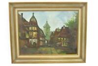 Medium Framed Oil Painting Canvas City Street Landscape Signed