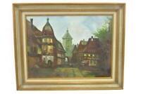 Medium Framed Oil Painting Canvas City Street Landscape Signed