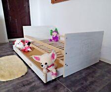 Lit Enfant de Jeunesse Juniorbet Complet 70x140 Tiroir Blanc Gris Rose Gravure