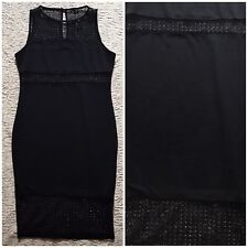 NEW River Island sz 14 L Black Puritan Urban Asos Netted Mesh Bodycon Midi Dress