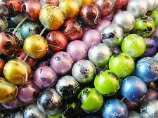 30pc 8mm Drawbench Spray Painted Round Glass Beads - Metallic Mix Colour Lot