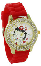 Betty Boop W073 Women's Blowing Kisses Gold Tone Red Silicone Band Crystal Watch