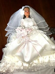 """Bride Doll Exquisite Handmade Satin Gown and Veil 18"""" Beautiful One of a Kind"""