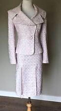 Zandra Rhodes for Escada Vintage Tweed Boucle Skirt Suit Jacket Pink Blue 42