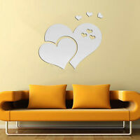3D Mirror Love Hearts Wall Sticker Removable Decal Home Room Art Mural Decor DIY