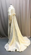 Vintage Bridal Dress Cream Flocked Cotton Sateen Empire Waist Xl Train