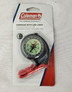 = Coleman Outdoor Compass With LED Light Lanyard Convenient Illumination NEW