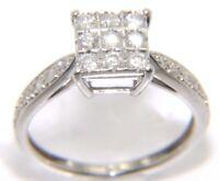 Ladies Womens 9ct 9Carat White Gold & Diamond Ring Size J