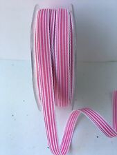 "3/8"" Grosgrain Ivory Striped Ribbon - May Arts - RG17 - Pink/White - 5 Yards"