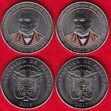 "Panama set of 2 coins: cuarto (1/4) balboa 2017-2018 ""Justo Arosemena"" UNC"