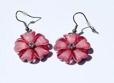 Earring Sparkle Hibiscus Plumeria Heart Flower Dangle Hawaii Luau CZ Hot Pink