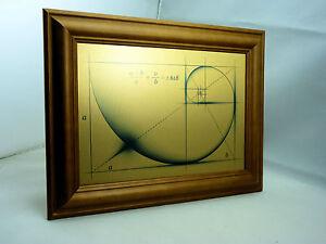 Fibonacci Golden Ratio WALL ART PRINT on Brushed Gold Metal with Wood Teak Frame