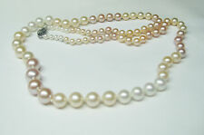 18'' Multicolor Graduated Natural Cultured Pearl Necklace 14K Yellow Gold Clasp