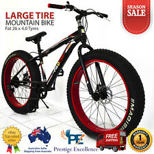 """26"""" Mens Mountain Bike Heavy Duty Large Fat Tyre Bicycle Red Black Alloy 7-Speed"""