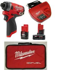 "New Milwaukee 2553-20  M12 FUEL Brushless 1/4"" Hex Impact Driver,Batteries & Chg"